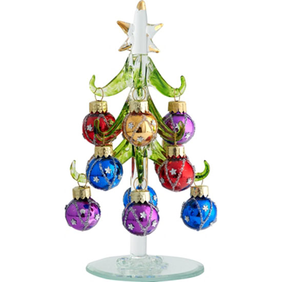 Miniature Christmas Tree Ball Ornaments : Ls arts inch green glass tree with star images ornaments