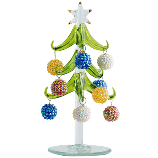 ls arts 6 inch green glass tree with bling ball ornaments - Glass Christmas Tree With Lights