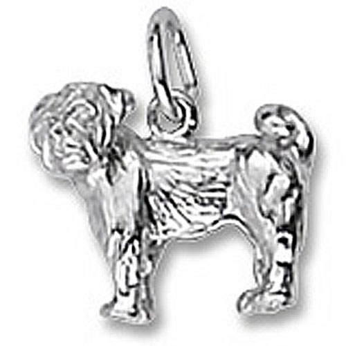 Pug Sterling Silver 3 Dimensional Charm 3490 Goldfingers Gifts
