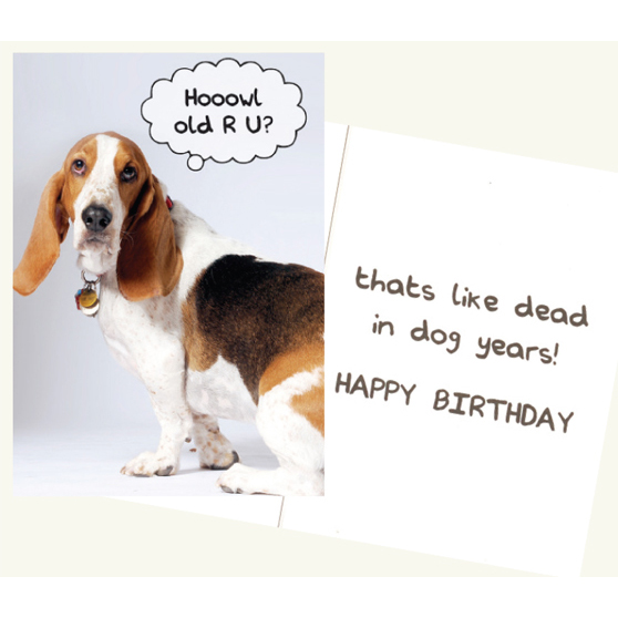 Dog Speak Hoowl Old R U Birthday Card Goldfingers Gifts
