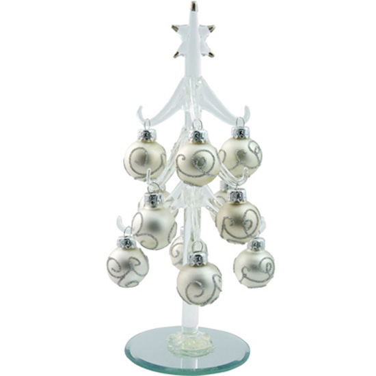 Ls Arts 8 Inch Clear Glass Christmas Tree With Silver Ball Ornaments