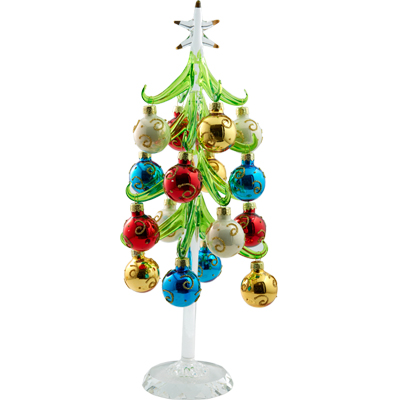 bring out the holiday spirit with this lovely mini crystal christmas tree with 12 festive ball ornaments trees are attached to round mirror pedestals that